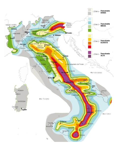 mappa sismica dell'italia